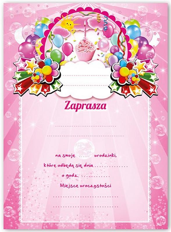 Zaproszenie na urodzinki z BABECZKĄ różowe - 1szt