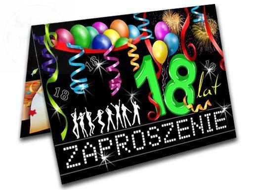 """Zaproszenie """" BALONIKI """" na 18-ste urodziny 1szt"""