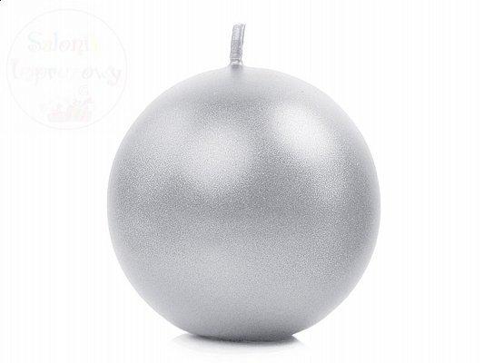 """Świeca """"Kula"""" metalik, srebrna 8cm. SKUMET80-018"""