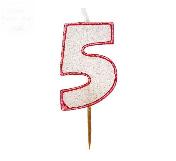 """Świeczka cyferka """"5"""" czerwony kontur z brokatem"""