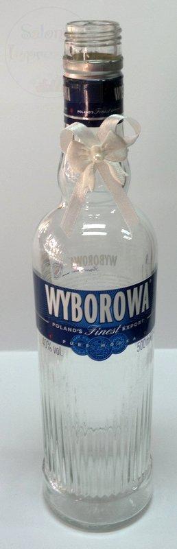 Zawieszki na alkohol na gumce białe z kokardką 1sz