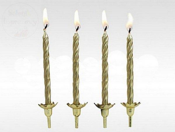 Świeczki urodzinowe złote 6 sz+6podstaw