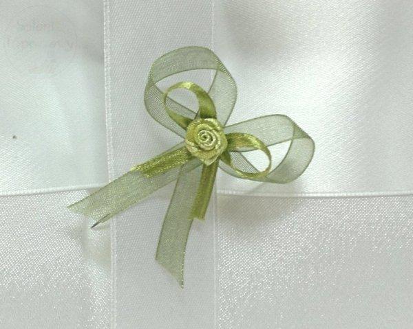 Butonierki  zielone z zieloną różyczką 1szt