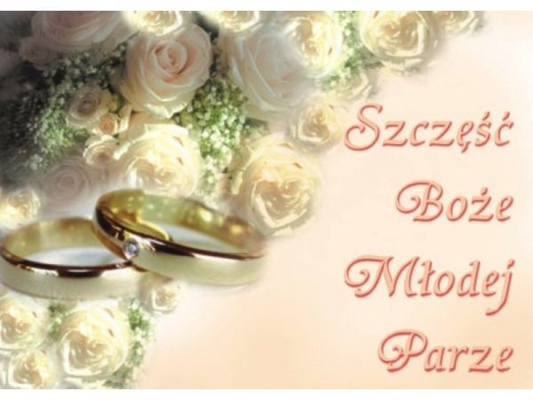 Plakat weselny Szczęść Boże Młodej Parze OK18