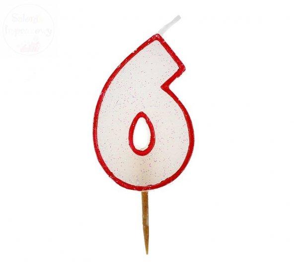 """Świeczka cyferka """"6"""" czerwony kontur z brokatem"""