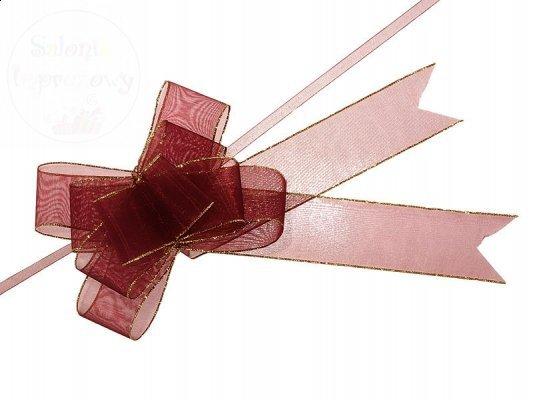 Wstążka materiałowa ściągana 3,75x68cm bordowa