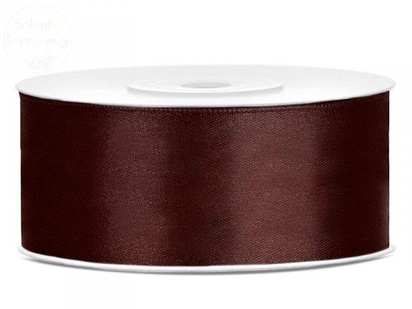 Tasiemka satynowa brązowa 25mm/25m