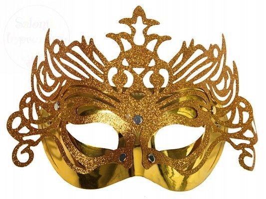 Maska karnawałowa złota z ornamentem