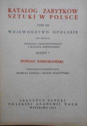 Katalog zabytków sztuki w Polsce tom VII zeszyt 7 • Województwo Opolskie, powiat Namysłowski