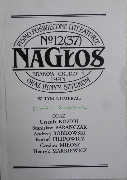 Nagłos nr 12/1993 • Szymborska Miłosz Kozioł