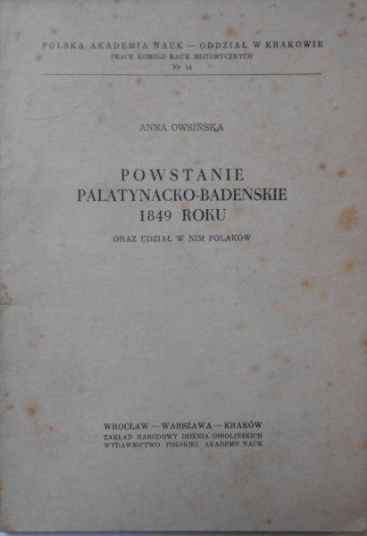 Anna Owsińska • Powstanie palatynacko-badeńskie 1849 roku