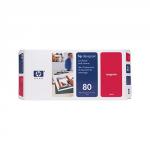 Głowica (Printhead) HP 80 magenta + Gniazdo czyszczące (Printhead cleaner) magenta do DnJ 1050C/1055CM - C4822A
