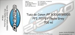 Tusz zamiennik Yvesso PFI-701PGY Photo Grey 700ml do Canon iPF8000S iPF9000S CF0910B001AA
