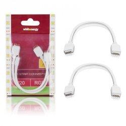 Whitenergy Złączka do taśm LED z kablem | RGB | dwustronna | IP20 | biała | 2 szt | 2 x 4 pin męski | 15 cm