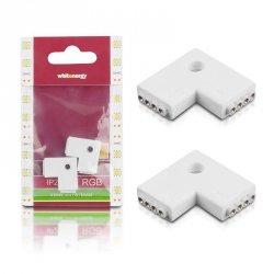 Whitenergy Złączka do taśm LED L | RGB | dwustronna | IP20 | biała | 2 szt | 2 x 4 pin żeński |