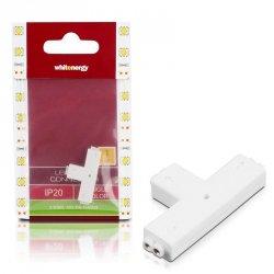 Whitenergy Złączka do taśm LED T | jednokolorowy | trójstronna | IP20 | biała | 1 szt | 3 x 2 pin żeński |