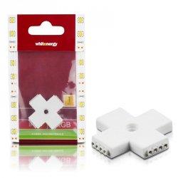Whitenergy Złączka do taśm LED Krzyżyk | RGB | czterostronna | IP20 | biała | 1 szt | 4 x 4 pin żeński |
