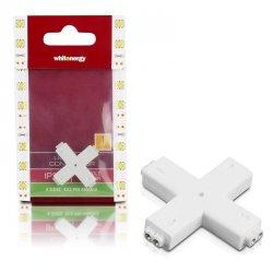 Whitenergy Złączka do taśm LED Krzyżyk | jednokolorowy | czterostronna | IP20 | biała | 1 szt | 4 x 2 pin żeński |