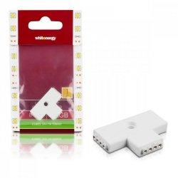 Whitenergy Złączka do taśm LED T | RGB | trójstronna | IP20 | biała | 1 szt | 3 x 4 pin żeński |