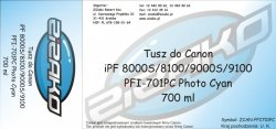 Tusz zamiennik Yvesso PFI-701PC Photo Cyan 700ml do Canon iPF8000S iPF8100 iPF9000S iPF9100 CF0904B001AA