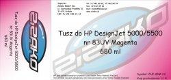 Tusz zamiennik Yvesso nr 83 UV do HP Designjet 5000/5500 680 ml Magenta C4942A
