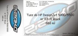 Tusz zamiennik Yvesso nr 83 UV do HP Designjet 5000/5500 680 ml UV Black C4940A