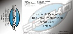 Tusz zamiennik Yvesso nr 90 do HP Designjet 4000/4020/4500/4520 (775 ml) Black C5059A