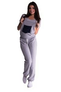 Spodnie ciążowe ogrodniczki dresowe 2412
