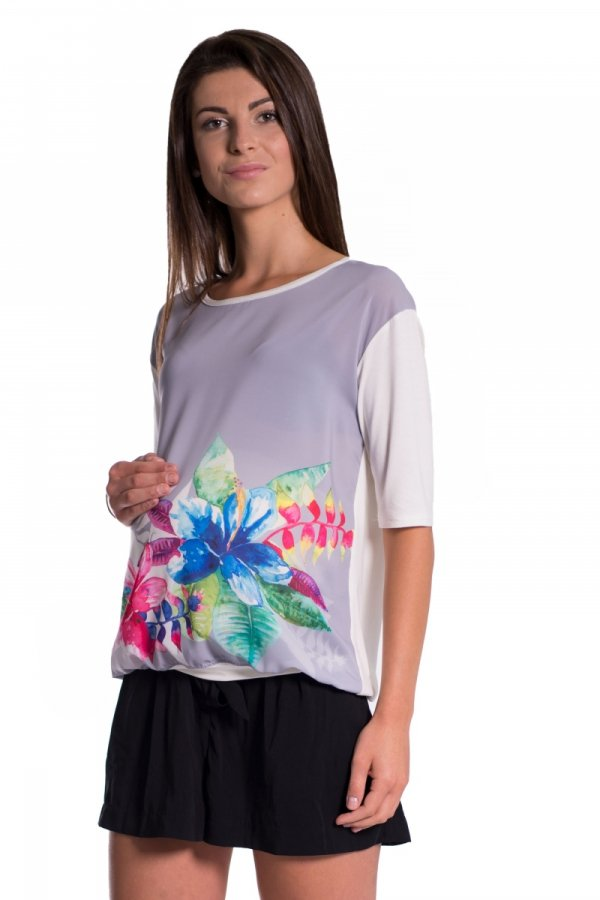 Bluzka ciążowa z nadrukowanym kwiatem 3907