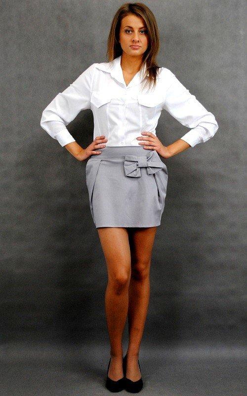 Modna ołówkowa mini spódniczka z kokardą 9992