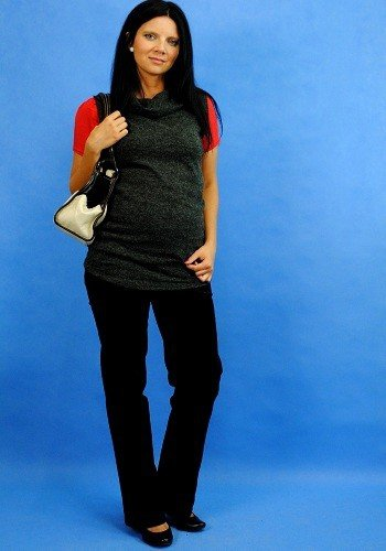Jesienna tunika ciążowa, modny bezrękawnik z angory 8070
