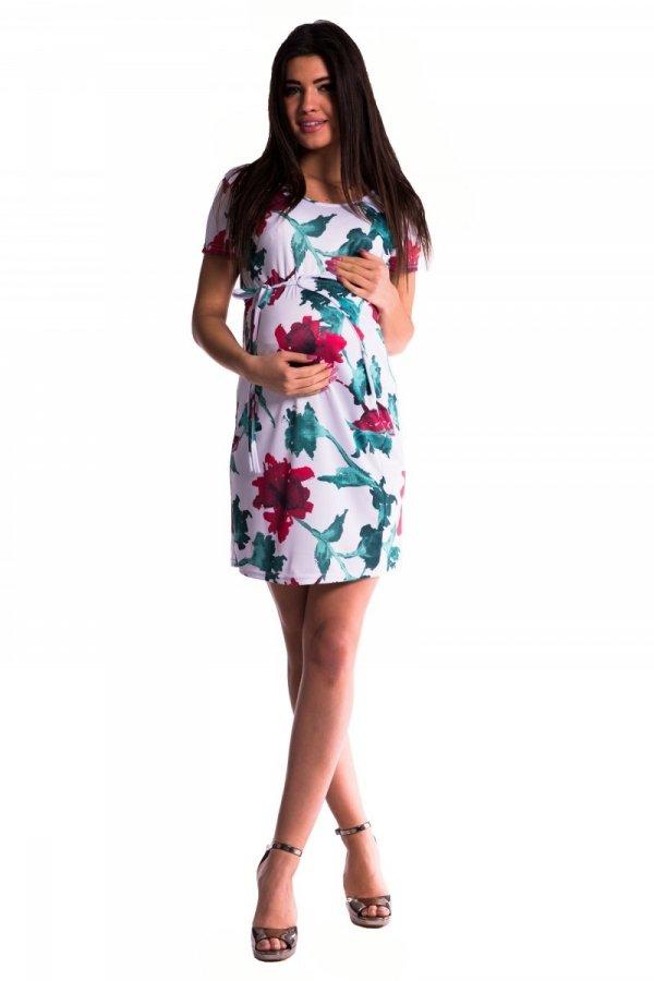 Sukienka ciążowa wiązana kwiaty 3495