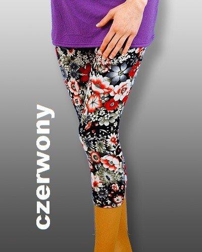 Wyszczuplające legginsy 3/4 Laycra czarne i kwiaty 0098