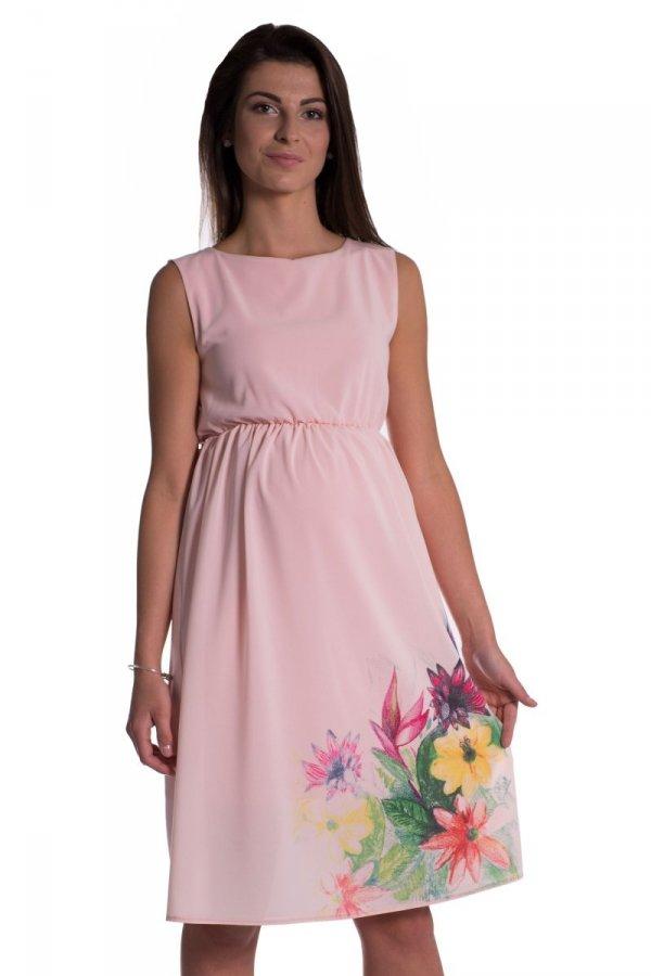 Sukienka ciążowa szyfonowa z nadrukiem 3846