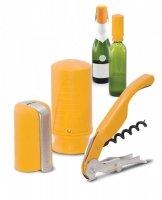 Zestaw akcesoriów do wina i szampana - żółty Pulltex