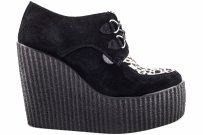 Buty Underground CREEPERS WEDGE Black Leopard Suede