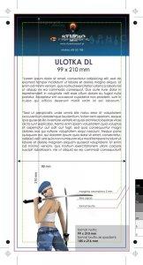 ulotka DL, druk pełnokolorowy obustronny 4+4, na papierze kredowym, 130 g, 1000 sztuk