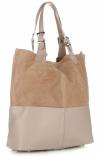 Torebka Skórzana Ekskluzywny Shopper bag beżowa