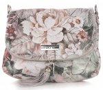 Modna Listonoszka Skórzana Vittoria Gotti w Kwiaty Multikolor Szara