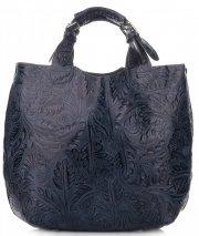 Kožená kabelka Shopperbag s kosmetickou kapsičkou Tmavě modrá