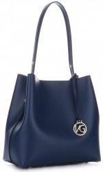 Exkluzivní kožená italská kabelka VITTORIA GOTTI Tmavě Modrá