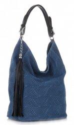 Univerzální kožená italská kabelka Modrá - Jeans
