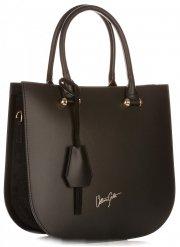 VITTORIA GOTTI Made in Italy Elegantní Dámská kabelka kožená kufřík Černá