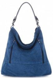 Vittoria Gotti Univerzální kožená italská kabelka Modrá