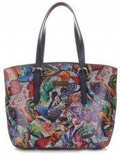 Dámská kabelka kožená kufřík VIttoria Gotti Multicolor Tmavě modrá
