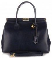 Kožené kabelky kufříky XL Genuine Leather Tmavě modrá