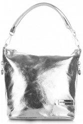 VITTORIA GOTTI Made in Italy Eegantní Kožená kabelka listonoška stříbrná