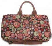 Univerzální kožená italská kabelka Vittoria Gotti květiny černá/multicolor