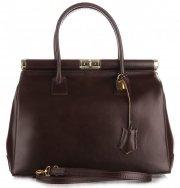 Kožené kabelky kufříky XL Genuine Leather čokoláda