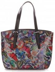 Dámská kabelka kožená kufřík VIttoria Gotti Multicolor Černá